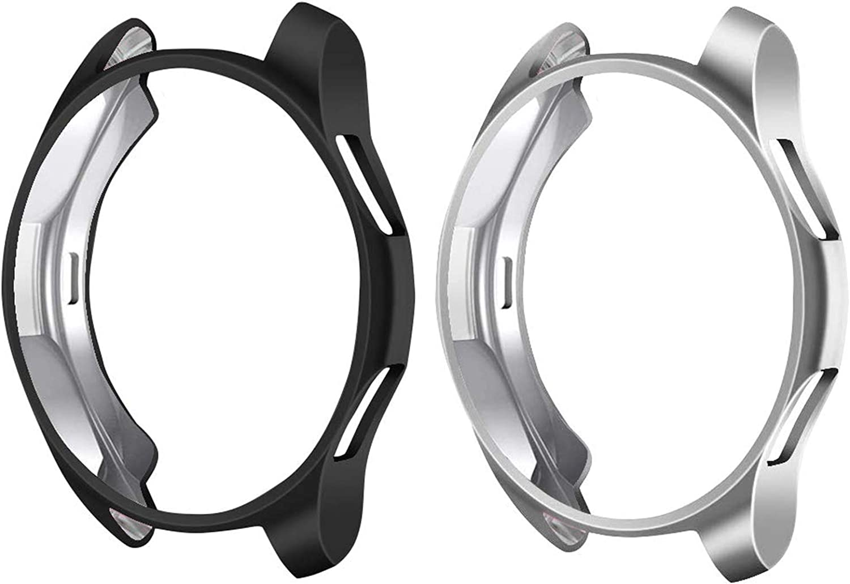 CAVN Compatible con Samsung Galaxy Estuche protector protector de 46 mm SM-R800, paquete de 2 estuches protectores generales Estuche protector flexible de TPU, color negro gris