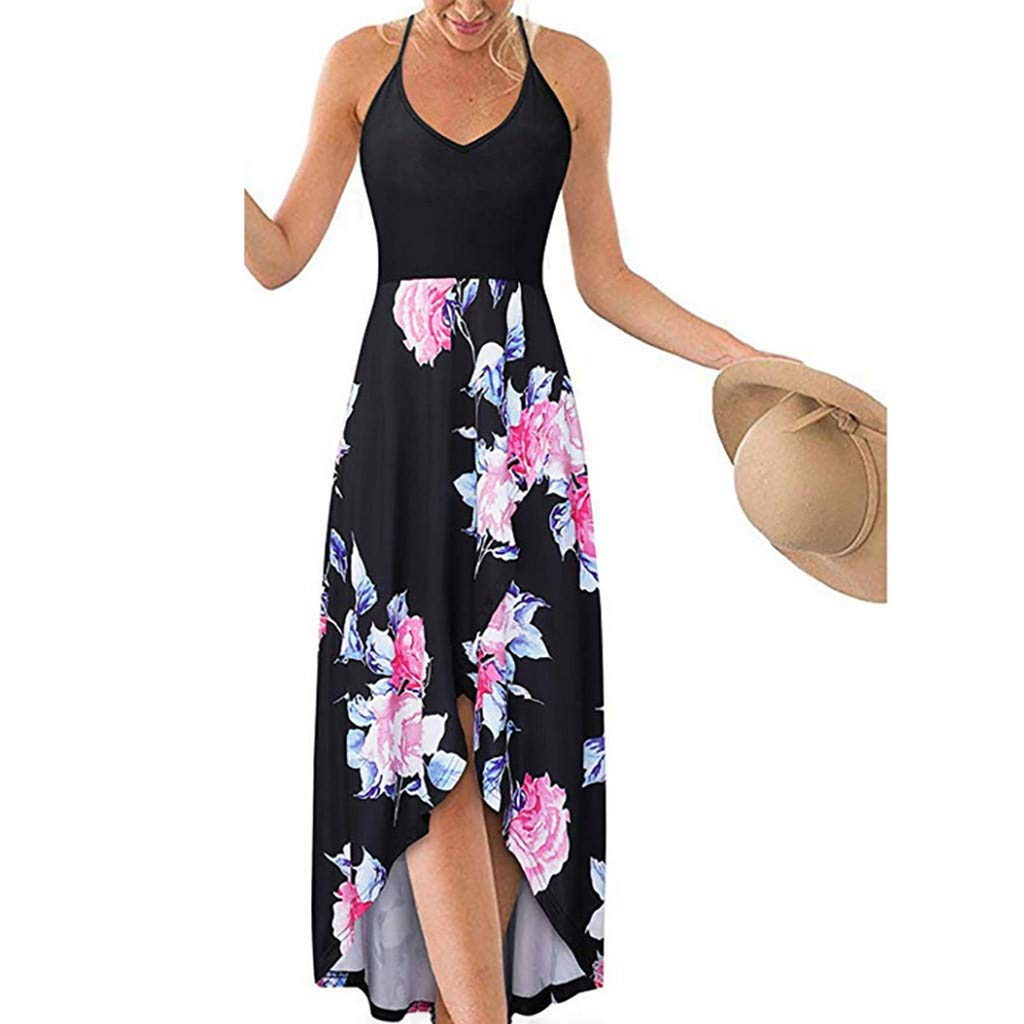 Fashion Sleeveless Sexy Backless Irregular Skirt Summer Casual Dresses Printed Halter Dress for Women's (L, Black) by S&S-women (Image #1)