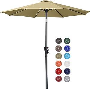 9' Patio Umbrella Table Market Umbrella with Push Button Tilt for Garden, Deck, Backyard and Pool, 8 Ribs 13+Colors,Khaki