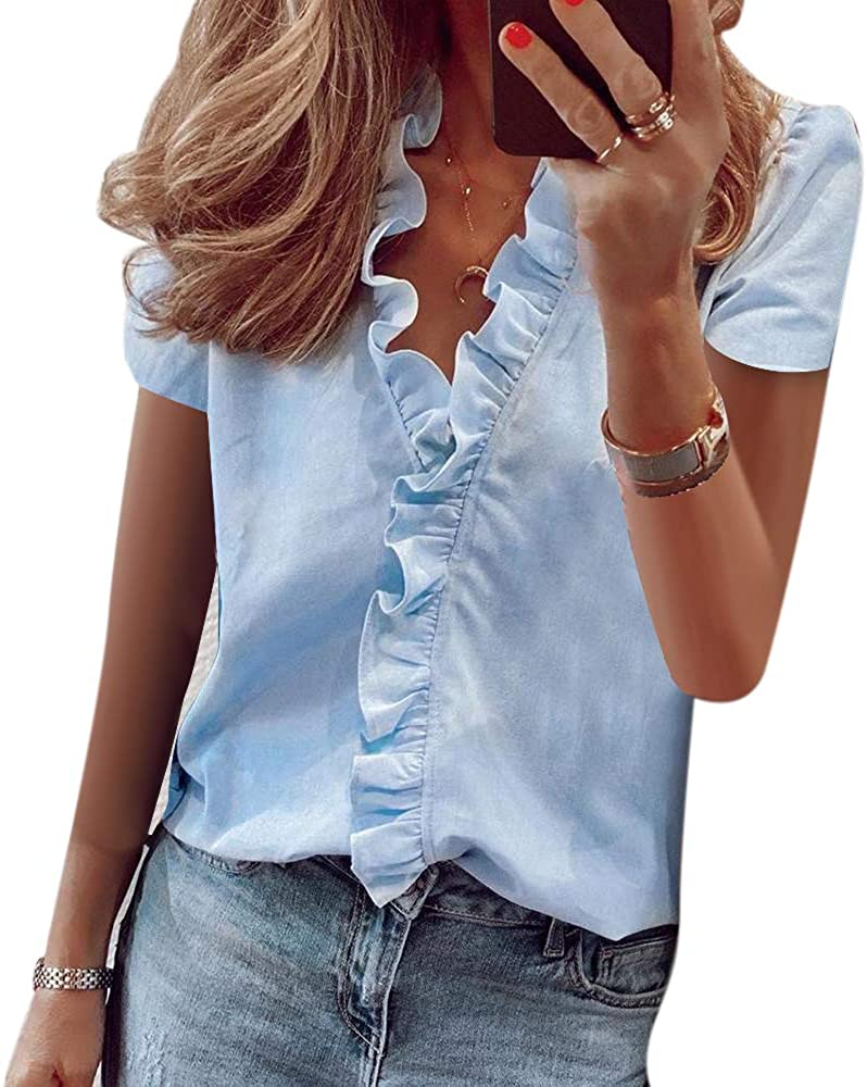 Urijk Women Summer Ruffle Short Sleeve Printed T-Shirt European and American Style Casual Slim Fit V-Neck Blouse Tops