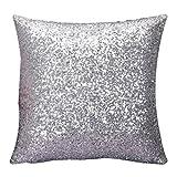 Woaills 16 x 16 Throw Pillow Case, Glitter Sequins Cushion Cover for Home Sofa Decor (Silver)