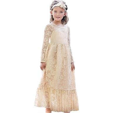 envio GRATIS a todo el mundo a juego en color última moda Vestidos de Flores para Bodas Vestido de Encaje de Flores para niñas  Vestido de Flor Blanca Vestido de Dama de Honor Bautizo con Lazo Grande