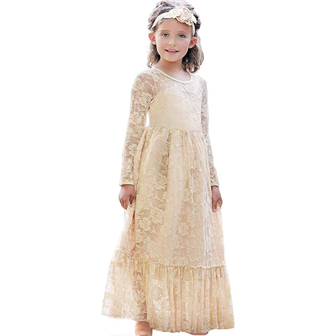 ca7e9ca49 CQDY Lace Flower Girl Dress Long Sleeves Princess Communion Dresses for  2-13T (Champagne