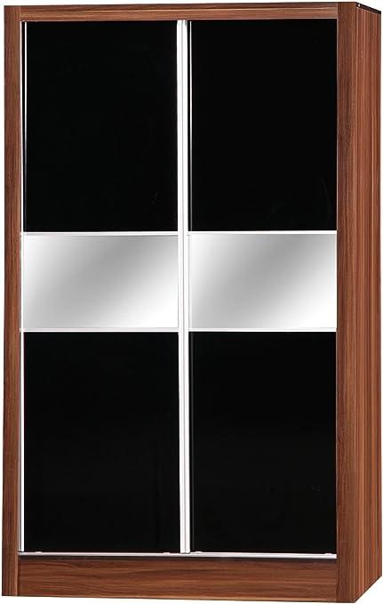 Alpha Espejo Doble Armario de Puertas correderas, Madera, Color Negro y Nogal: Amazon.es: Hogar