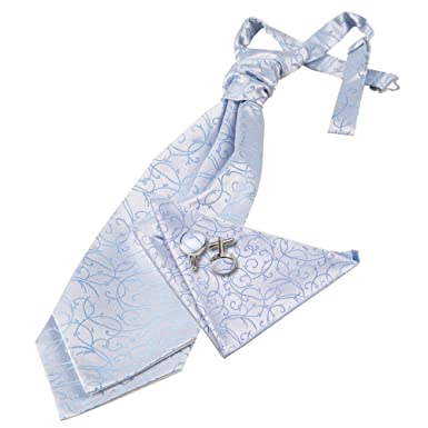 ddfa685afd411 DQT Premium Woven Microfibre Swirl Patterned Baby Blue Men's Formal Casual  Wedding Scrunchie Pre-Tied
