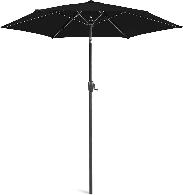 Best Choice Products 7.5ft Heavy-Duty Round Outdoor Market Patio Umbrella w/Steel Pole, Push Button Tilt, Easy Crank Lift - Black
