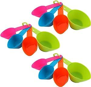 TOPZEA 12Pcs Pet Food Scoops, Plastic Measuring Cups Spoons Set for Pets, Dog, Cat, Bird Food, Blue, Pink, Orange, Green