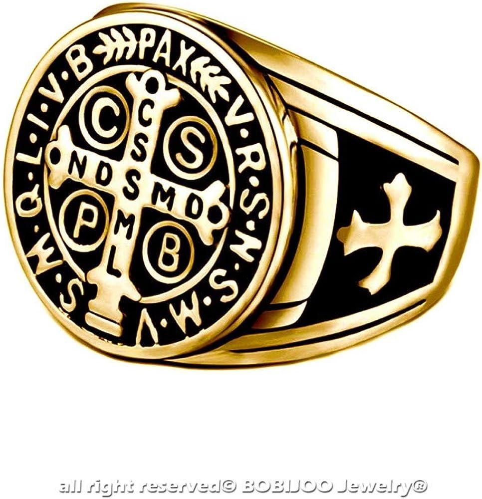 Ring Siegelring Mann Kreuz St Benedikt Schutz D/ämon Stahl Vergoldet Schwarz BOBIJOO JEWELRY