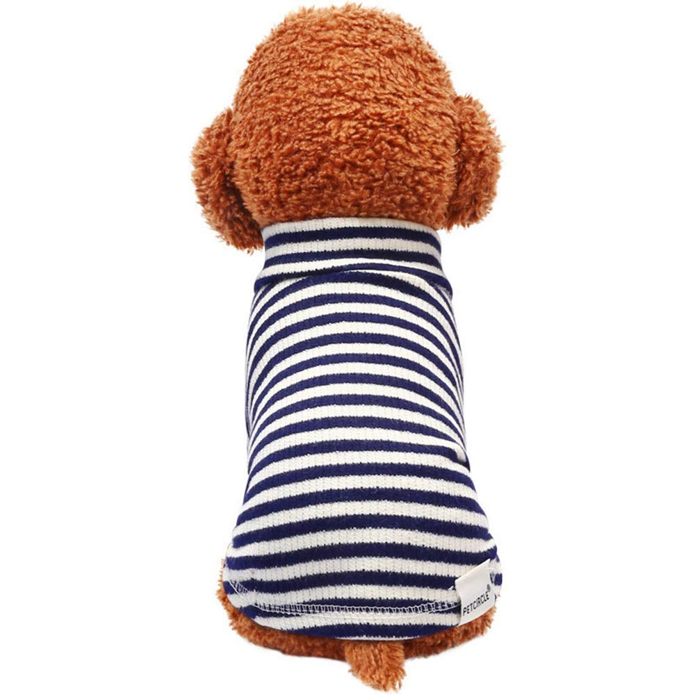 As shown S As shown S Huayue Pet Clothes Cotton Stripy Warm Stave Neck Shirt Dog T-Shirt Clothing (color   As Shown, Size   S)