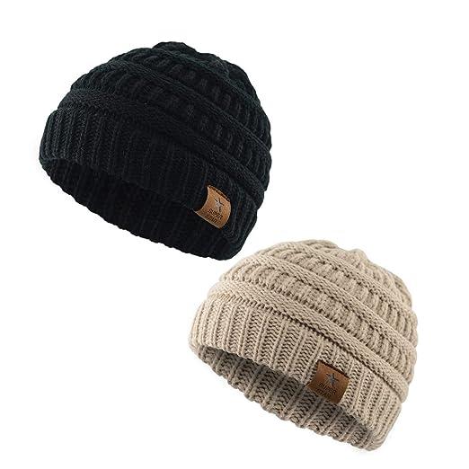 b678c6c6fb2 Kids Baby Boy Girl Winter Knit Warm Hats Infant Toddler Beanie Caps (Black