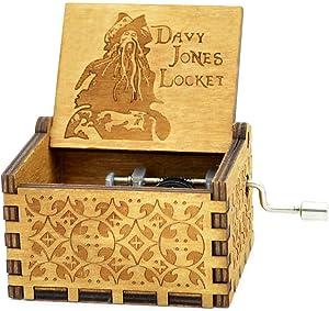 Sooharic Davy Jones Music Box- 18 Note Hand Crank Mechanism Wooden Music Box Crafts(Pirates of The Caribbean(Davy Jones))