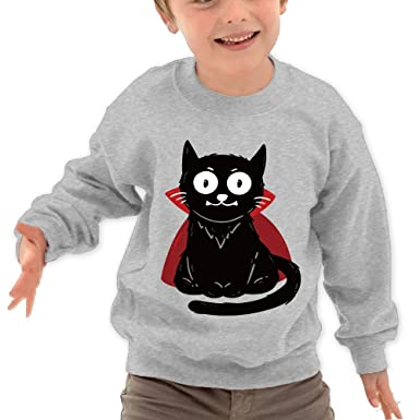 ad87597e Amazon.com: Cooby Roman Cool Black Cat DIY Custom Pattern Novelty O-Neck  Long Sleeve T-Shirt Children Sweatshirts: Clothing