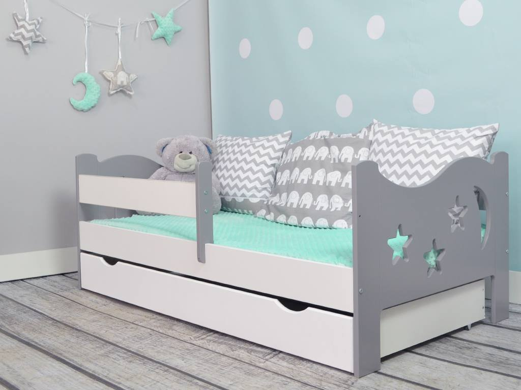 Camila Moon Stars Toddler Bed Grey White Safety Foam Mattress Amazoncouk Baby