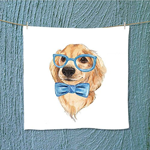 AuraiseHome quick dry towel large dog sketch blue bow tie painted Fast Drying, Antibacterial W19.7 x W19.7 -