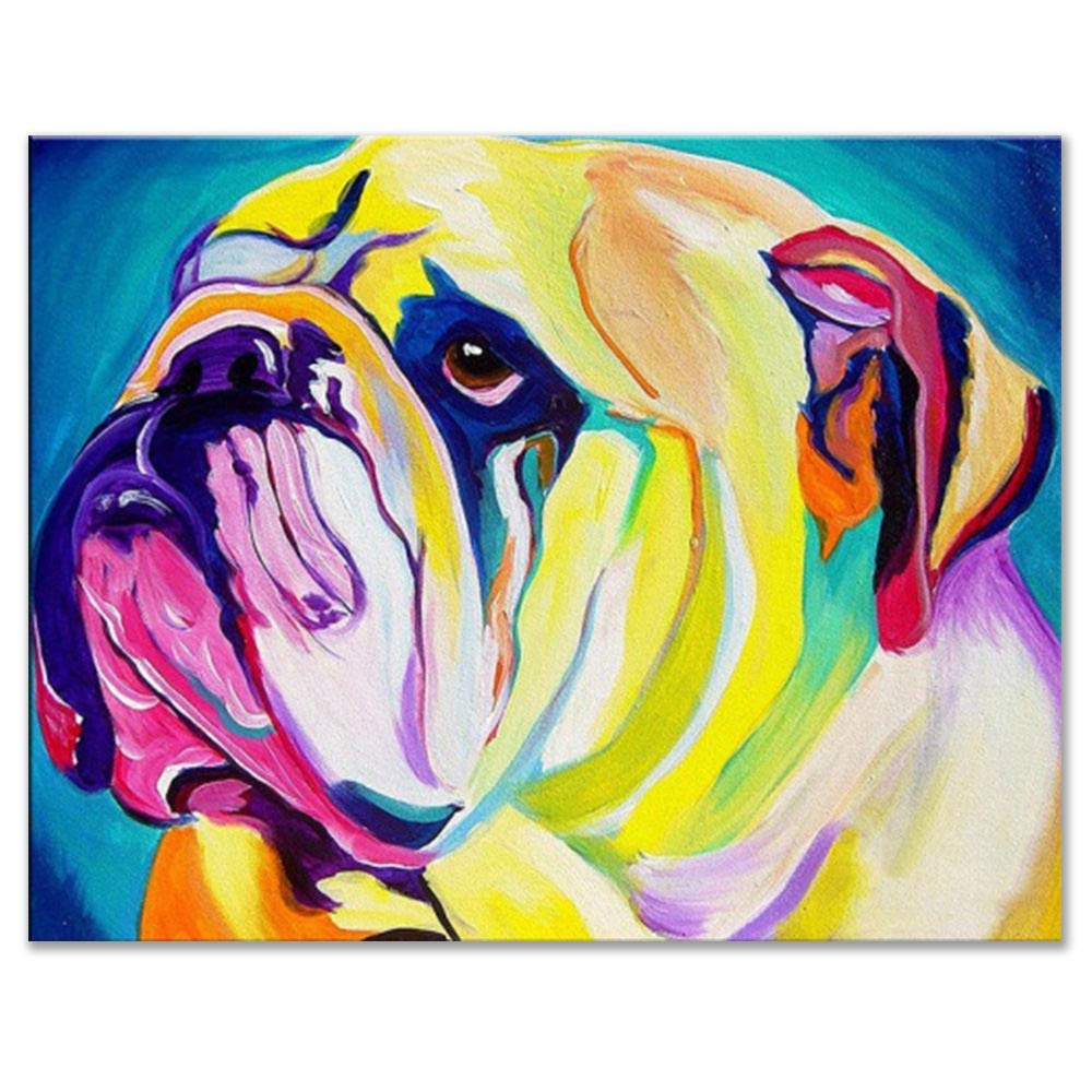 Raybre Art® Oil Painting colorful Grieved bulldog puppy ...