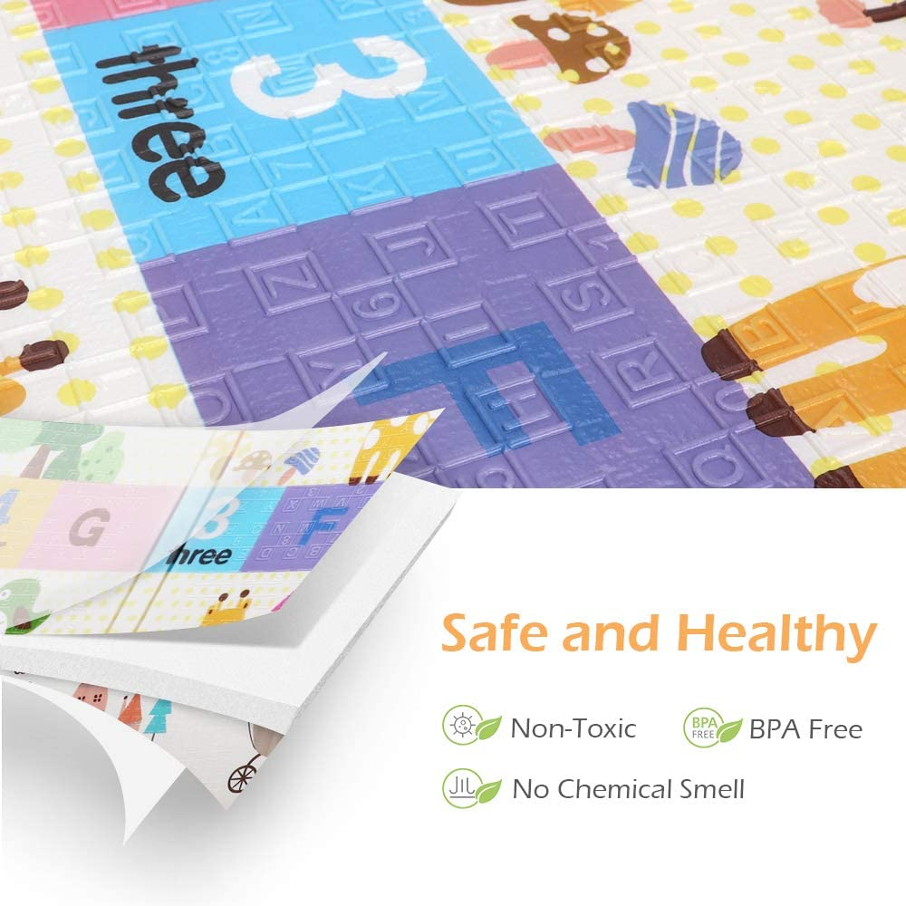 177 x 197 cm 1.5cm Bammax Playmat Baby Crawling Mat Floor Mat Large Soft Baby Mat Water-Proof Reversible Non-Toxic Extra Thick Foam Baby Play Mat for Floor