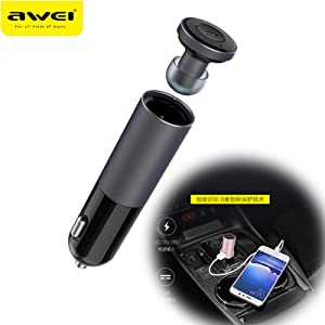 Awei A870BL Gray Car charger with smart bluetooth earphone Wireless Music Earphone Car Bluetooth earphone for iphone 6 Samsung