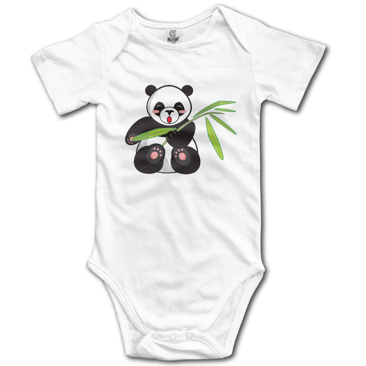 QUZtww Cartoon Panda and Bamboo Cotton Girl Baby Bodysuit Short Sleeve Romper Jumpsuits Onesies