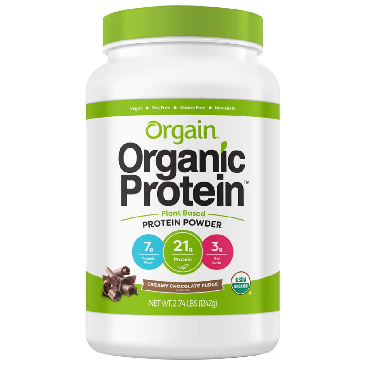 Orgain Organic Plant Based Protein Powder, Chocolate Fudge, Vegan, Gluten Free, Kosher, Non-GMO, 2.74 lb, Packaging May Vary
