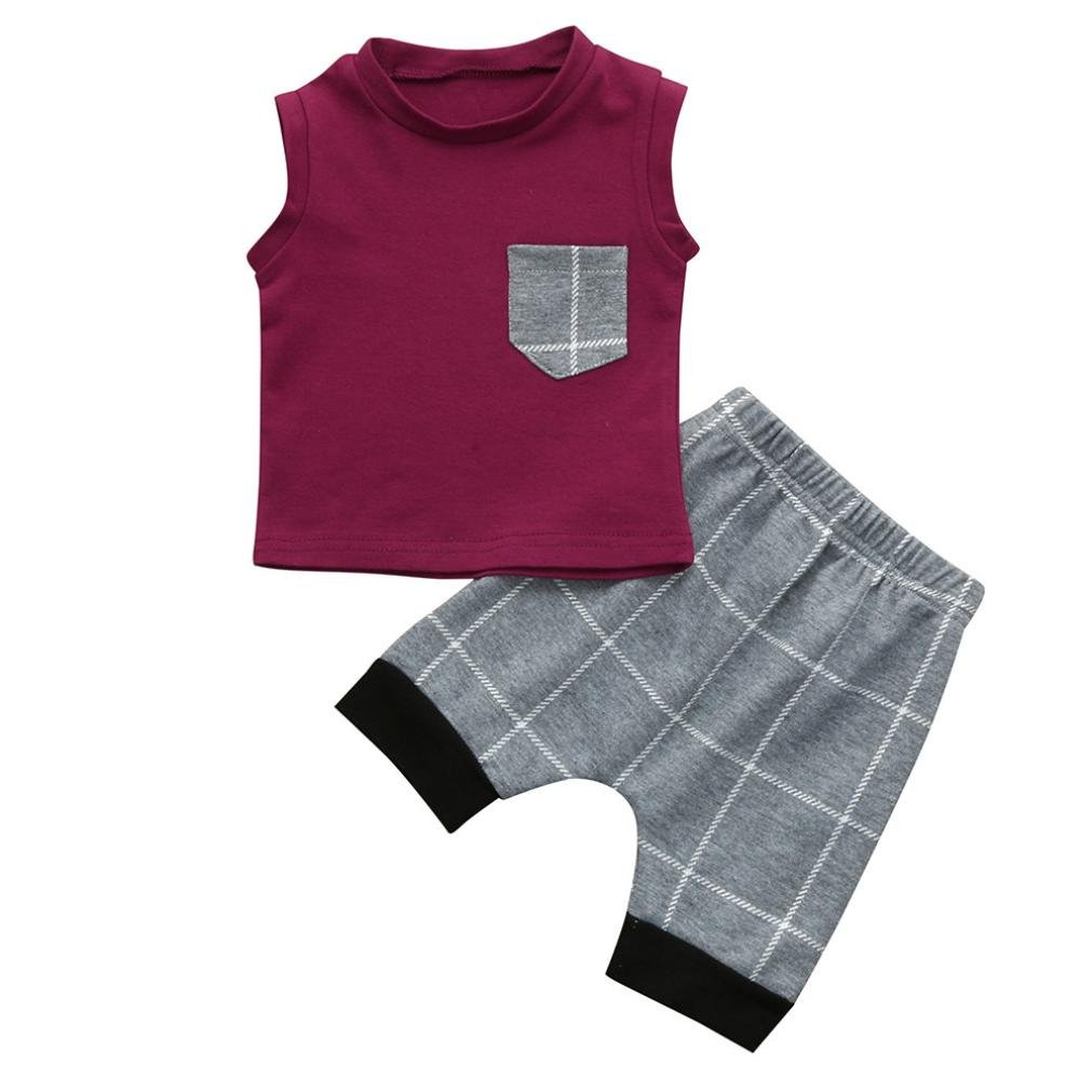 Moonker 2Pcs Toddler Infant Newborn Baby Boys Summer Clothes Tops Vest Plaid Shorts Outfits Set