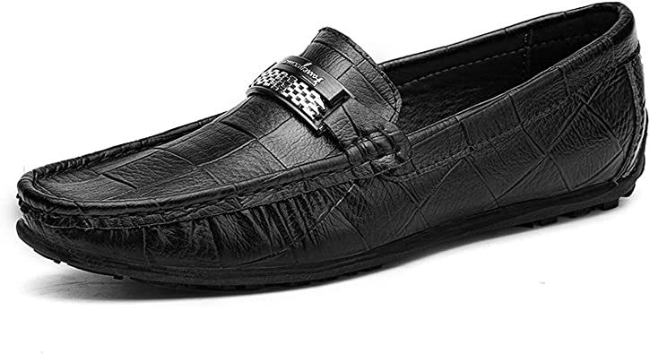 2019 New Big Size Mens Loafers Slip on Men Leather Shoes Luxury Casual Fashion Trend Brand Mens Shoes Wedding Shoes,Black,13