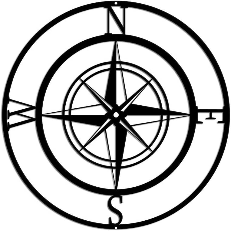 Nautical Compass Rose Metal Wall Art Indoor Outdoor Hanging Wall Decor