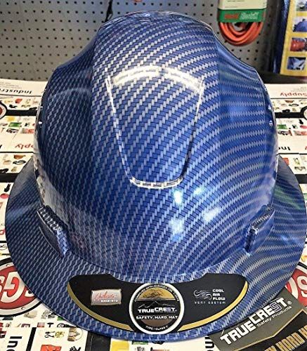 - HNTE-Blue/Black Fiberglass Hard Hat Safety Full Brim Helmet, Nylon Ratchet Suspension, 4-Point, {Top Impact} Safety Hard Hat Cool Air Flow Vent System