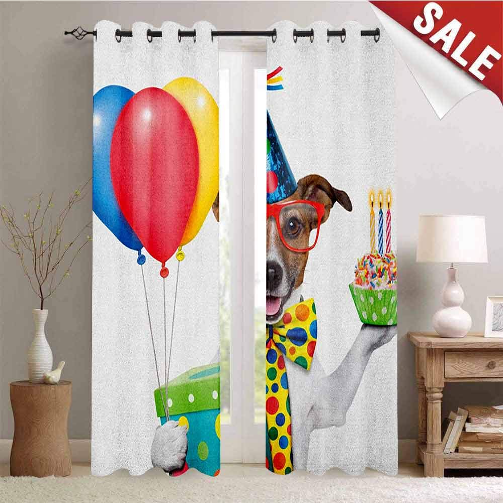 Hengshu Kids Birthday Decorative Curtains for Living Room Waiter Server Party Dog with Hat Cone Cupcake Balloons Celebration Boxes Waterproof Window Curtain W72 x L108 Inch Multicolor by Hengshu