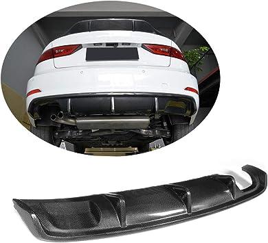 Rear Bumper Diffuser Lip Spoiler Carbon Fiber Fit for Audi S3 4-Door  2013-2016