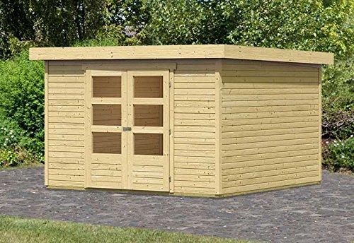 Karibu Woodfeeling Gartenhaus Askola 6 natur 19 mm Außenmaß (B x T): 302 x 306 cm Dachstand (B x T): 326 x 331 cm Wandstärke: 19 mm umbauter Raum: 18,3 cbm Bauweise: Systembauweise Ausführung: naturbelassen