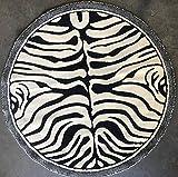 Kingdom Zebra Round Animal Print Rug Black & Off White Design D142 (4 Feet X 4 Feet)