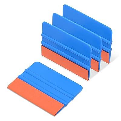 Ehdis [4PCS Felt Edge Squeegee 4 Inch for Car Vinyl Scraper Decal Applicator Tool with Orange Suede Felt Edge - Blue PP Scraper: Automotive