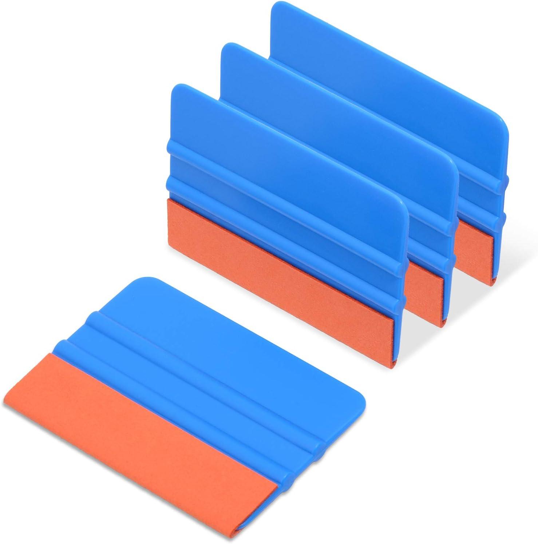 Pack of 10 Blue PP Scraper Ehdis 4-inch Felt Edge Squeegee for Car Vinyl Scraper Decal Applicator Tool with Orange Suede Felts