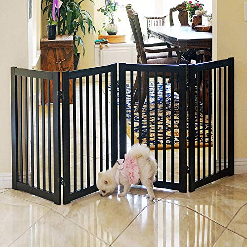 - WELLAND Freestanding Wood Pet Gate Espresso, 72-Inch Width, 30-Inch Height (No Support Feet)
