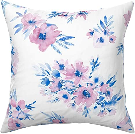 Roostery Throw Pillow Watercolor Bouquets Flowers Baby Girl Flower Floral Nursery Decor Wedding Summer Print Linen Cotton Canvas Knife Edge Accent Pillow 18in X 18in With Insert Home Kitchen