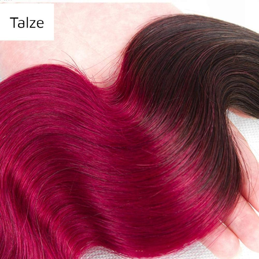 WIGM Tinte teñido pelo banda vino rojo rizado cabello humano ...