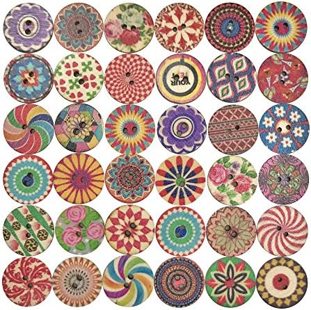 Mixed 2 Holes Wooden Retro Flower Painting Round Buttons for Sewing Crafting and DIY Craft 20mm 100 PCS – The Super Cheap