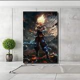 QJXX Imprime En Lienzo Pinturas De La Obra De Dibujos Animados Dragon Ball Goku Super Saiyan HD Picture Poster Decoration para El Arte De La Pared del Hogar,B,30 * 45Cm