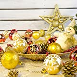 Anshinto 24PC Christmas Tree Xmas Balls Decorations Baubles Party Wedding Ornament 6cm (Gold)