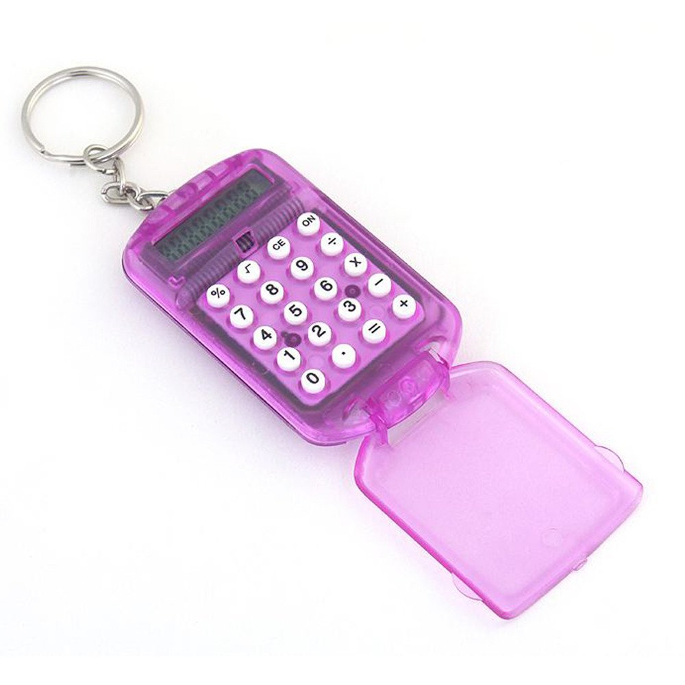 Mini Electronic Calculator 8 Digits Plastic Casing Keychain Calculator Pocket Key Ring for School Office Arithmetic Tools (Random) by paway (Image #3)