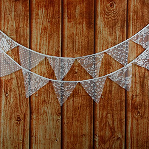 Shabby Chic Bridal Shower - LOVENJOY White Floral Lace Pennant Banner - 10.8 Feet
