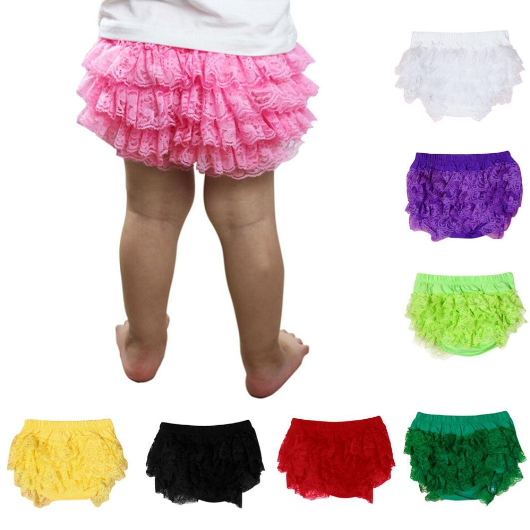 XXYsm Baby Mädchen Schichten Spitzen Trainerhosen Unterwäsche Höschen Solide Lace Kleid Rüsche Hose Pumphose Windel Decken
