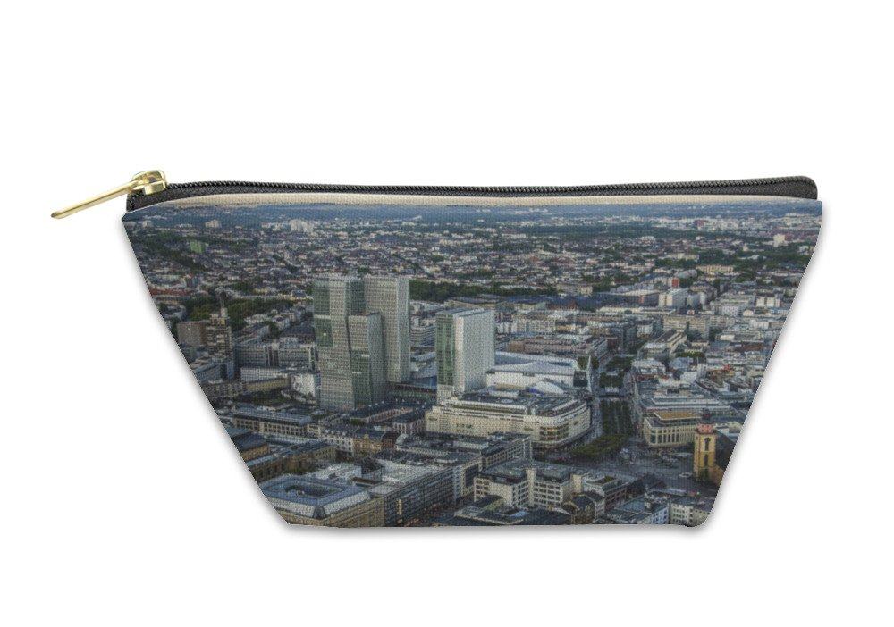 Gear New Accessory Zipper Pouch, Modern Skyline Of Frankfurt Germany Financial Business District, Large, 5983048GN