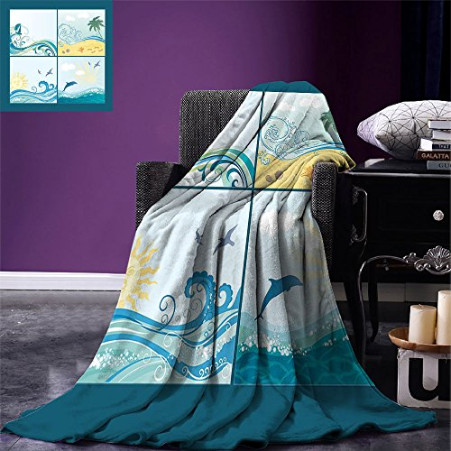 smallbeefly Beach Digital Printing Blanket Maritime Themed Frames with Waves Sun Trees Dolphins Birds Exotic Sea Pattern Summer Quilt Comforter Blue Beige ()