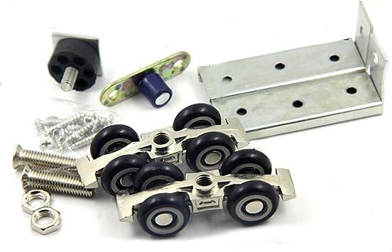 Rodillo para puerta corredera con 4 ruedas, para colgar en la habitación del hogar, madera, 30 kg: Amazon.es: Bricolaje y herramientas