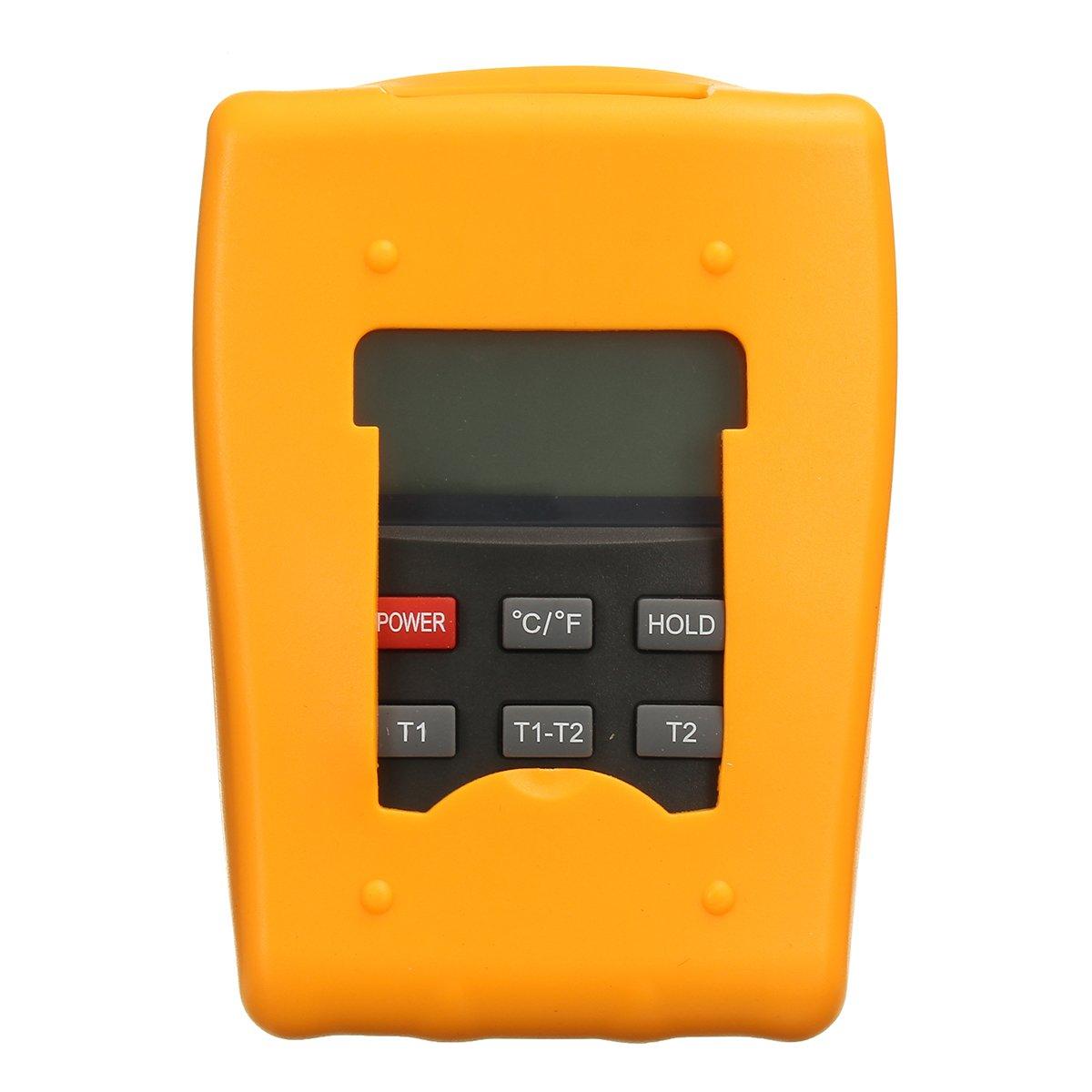 DM6802 Digital Thermometer HVAC Tool -50~1300°C ℃/℉ with 2 K-Type Temperature Sensor