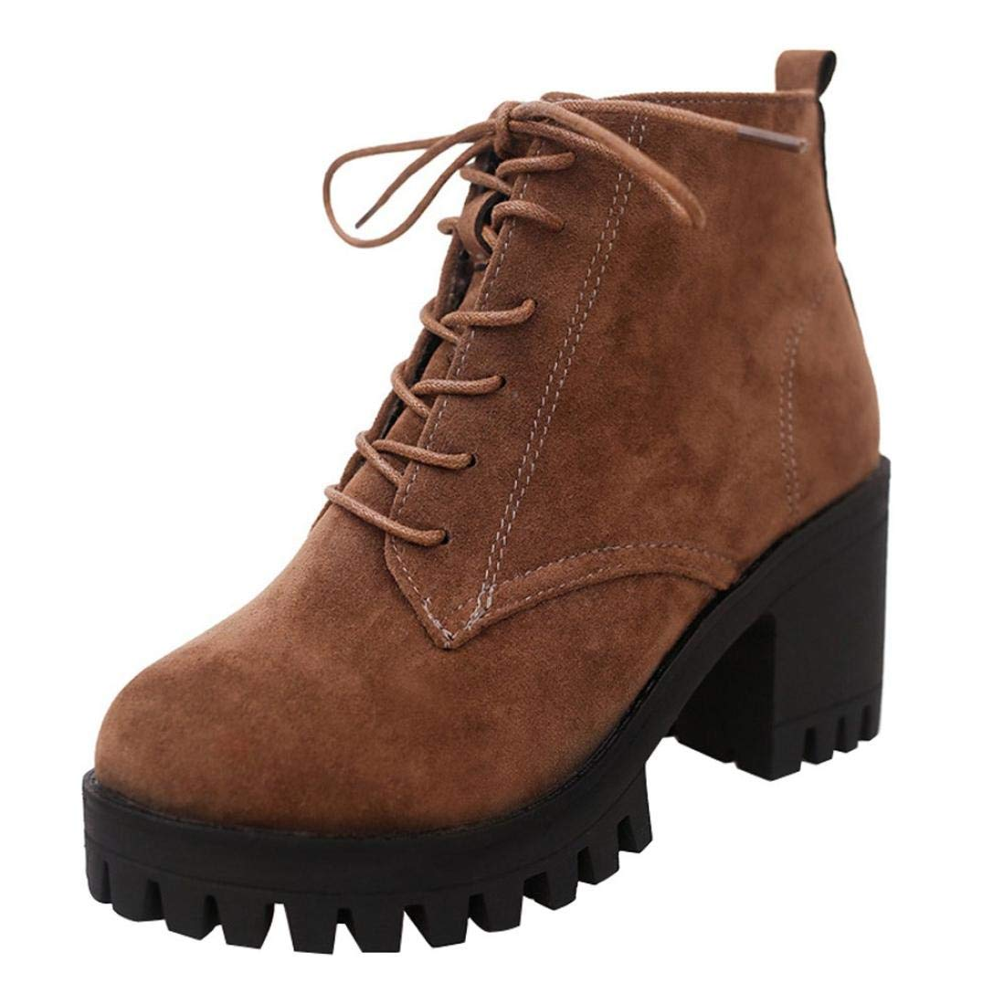 haoricu Winter Clearance Women High Heel Lace up Martin Ankle Boots Ladies Platform Shoes