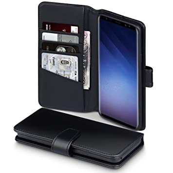 TERRAPIN, Compatible with Samsung S9 Plus Case, GENUINE LEATHER Wallet Flip  Cover - Black 34ce9e1d06c