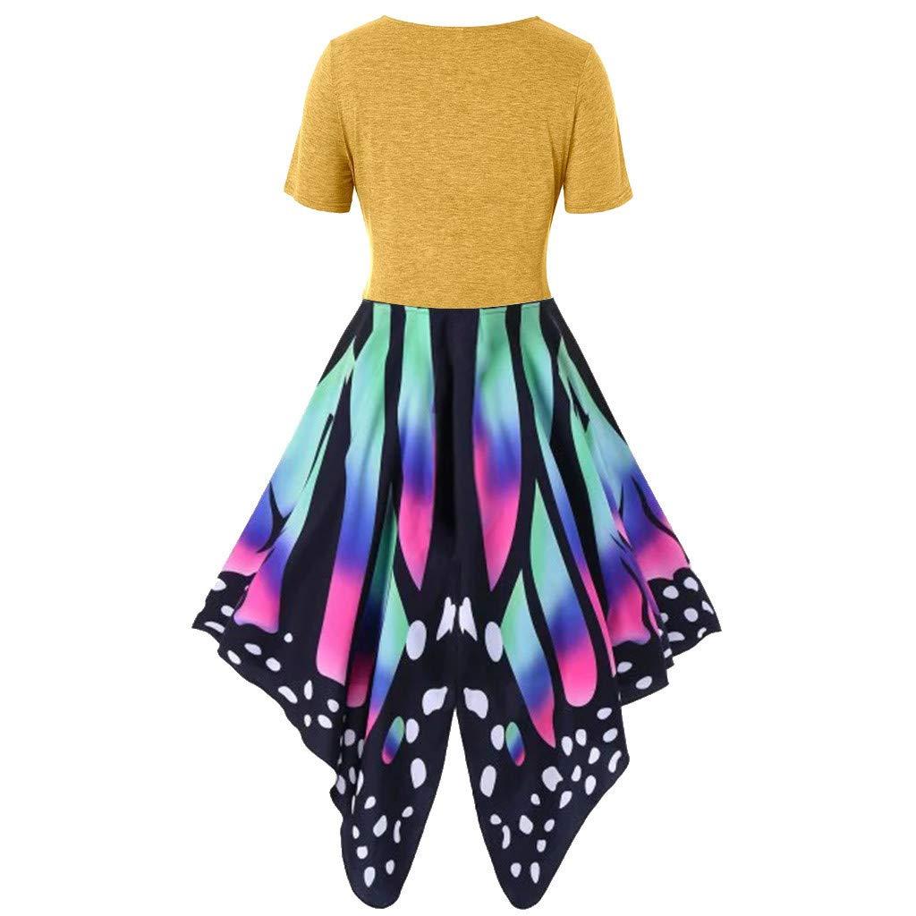 Women's Summer Funny Print Dress Sling Pullover Two-Piece Set ni Dress Sundress Beach Dress Yellow by NIKAIRALEY Dress (Image #2)