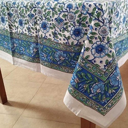 Handmade Hand Block Print 100% Cotton Eternal Floral Vine Tablecloth 60x60 (Blue (100 Square Print)